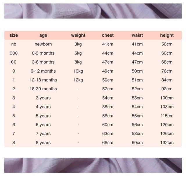 girls fashion size chart
