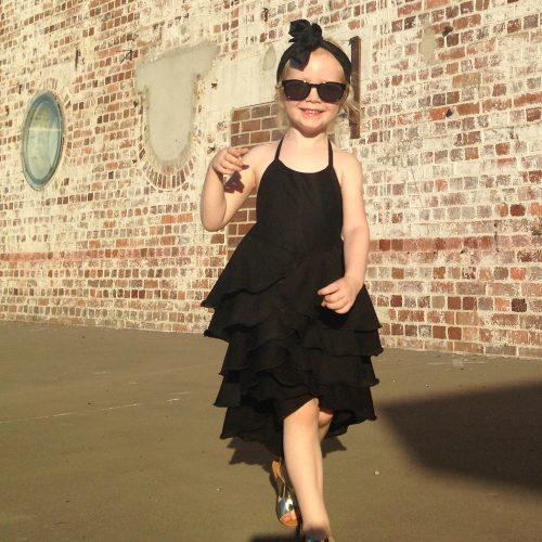 girls little black flamenco dress