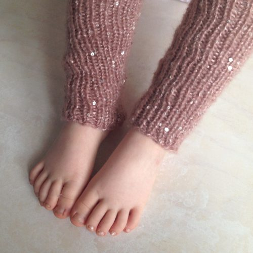 Girls hand knitted leg warmers with sequins