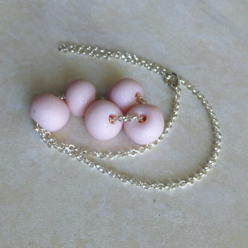 Baby clay bead pink and silver necklace