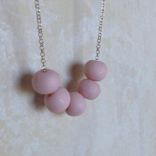 baby girls pink clay bead necklace