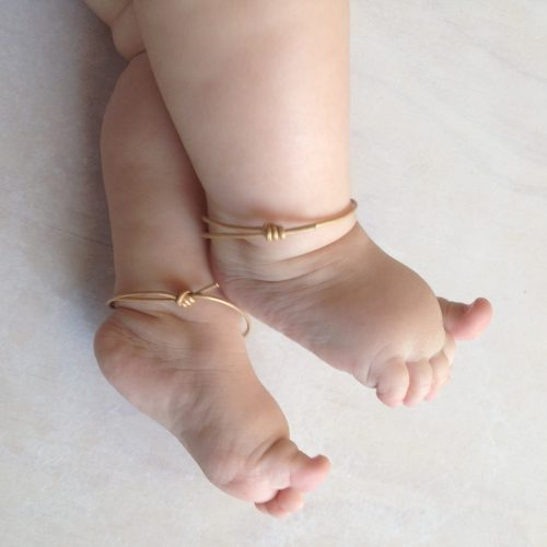 Gold baby leather anklet cuffs