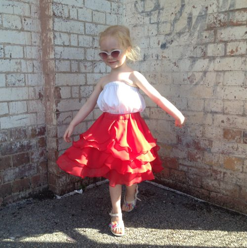 girls flamenco skirt ferrari red