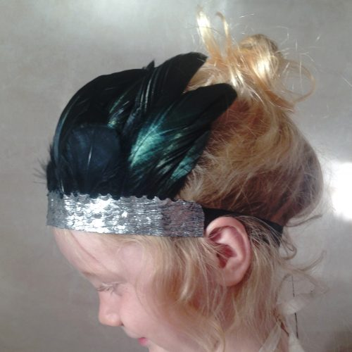 baby girl black feather crown