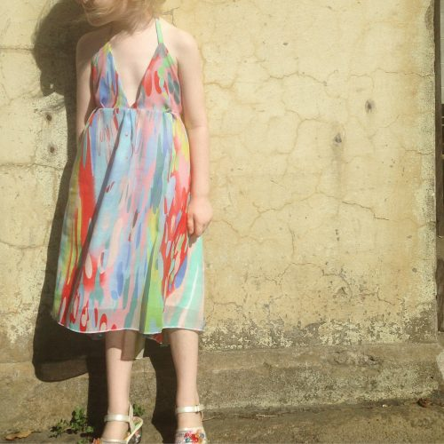 Pure cute girls Picasso summer rainbow dress